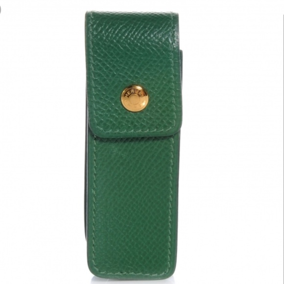Hermes Other - Hermès Green Leather Lipstick/Chewing Gum Holder